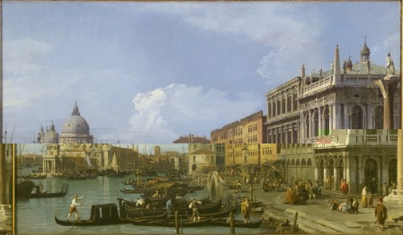 THE GRAND CANAL , PIAZZETTA AND DOGANA, VENICE by Canaletto, 1730 at Tatton Park, Cheshire